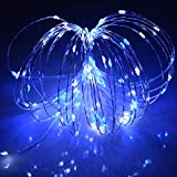 HAHOME 33ft 100 LEDs USB Starry String Lights with Power Adapter for Wedding Christmas Party Decoration Blue+White
