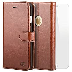 OCASE iPhone 6S Case iPhone 6 Case [Free Screen Protector Included] Leather Wallet Flip Case For iPhone 6 / 6S Devices - Brown