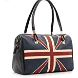 Ziho®Women's fashion Union Jack British style flag women leather handbag bags