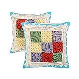 Decorative Set Of 2 Cushion Cover Chevron Off White 16 X 16 Cotton Pillow Cases