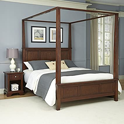 Home Styles Furniture 5529-5101 Chesapeake Canopy Bed and Night Stand, Queen