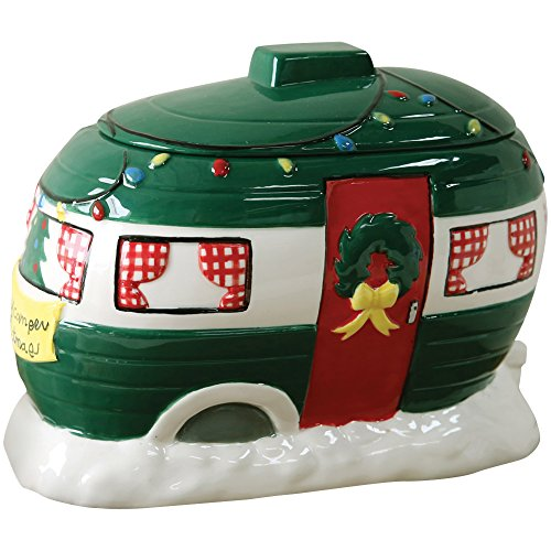 Decorative Retro Happy Camper Christmas Holiday Themed Ceramic Cookie Jar (Oval Cookie Jar compare prices)