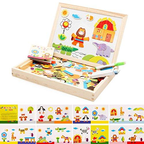 Zeagoo Baby Lernspielzeug Holz Puzzle Tiere Holz Magnet-Tischtafel Zeichnung Tafel 3D Holz malen Tool ab 2 Jahren