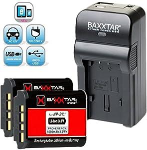 Baxxtar RAZER 600 chargeur 5 en 1 + 2x Baxxtar Batterie pour Sony NP-BX1 (1090mAh) -- NOUVEAU avec entrée micro USB. Sortie USB pour charger simultanément un troisième dispositif (GoPro, GoPro à distance, iPhone, tablette, smartphone, etc ..)