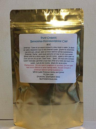 Bentonite Clay Montmorillonite Fine Powder ~ 8oz ~ NATURAL FOOD GRADE POWDER ~ Detoxification ~ White Label Premium Herbs & Spices (Montmorillinite) (Food Grade Clay compare prices)
