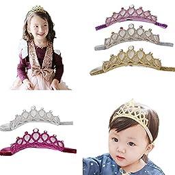 Mookiraer® 5PCS Baby Girls Crown Headbands Toddler Princess Hair Bands