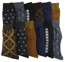 Royal Mens Pattern Dress Casual Socks Cotton Blend Variety. 12 Pair