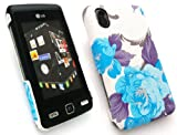 EMARTBUY LG KP500 COOKIE TEXTURED BLOSSOMED BLUE CLIP ON PROTECTION CASE/COVER/SKIN + SCREEN PROTECTOR