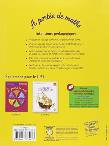 Mathematiques cm1 a portee de maths hachette education for A portee de maths cm1