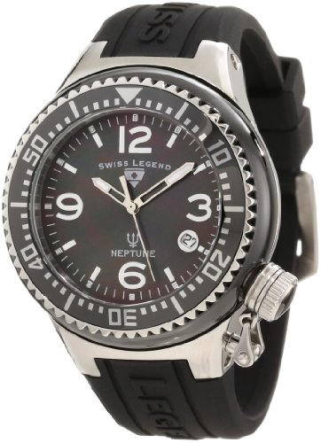 Swiss Legend Women's SL-11844-BKBSA Neptune Black Mother-of-Pearl Dial Silicone Watch with Ceramic Case