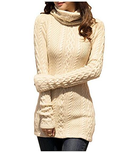 women-polo-neck-knit-stretchable-elasticity-long-sleeve-slim-sweater-jumper