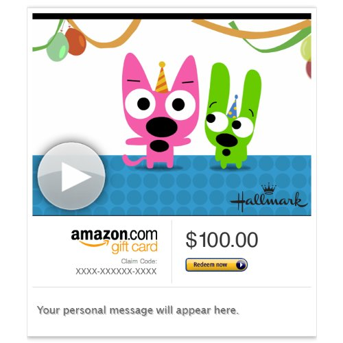 Cheap Amazon Gift Card - E-mail - Hoops and Yoyo Cake Face (Animated) [Hallmark]