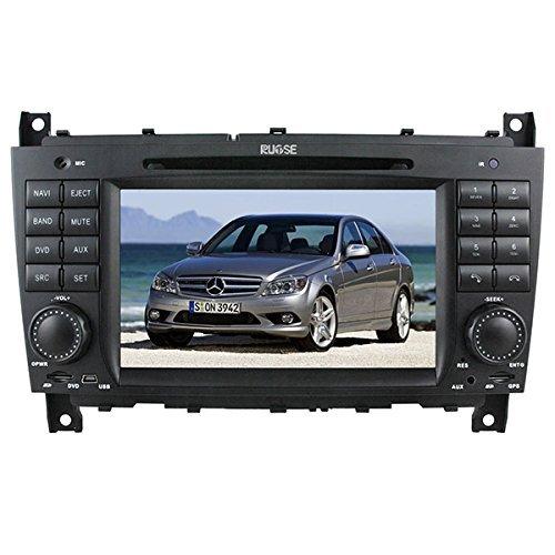 Rupse GPS Navigationssystem Autoradio mit Bildschirm 7 Zoll für Mercedes Benz C Class W203 CLK W209 mit Canbus Lenkradsteuerung Bluetooth kostenlose Landeskarte und Rückfahrkamera RDS PIP mit 2 Jahren Garantien
