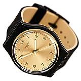 Swatch Originals Gold Dial Black-Tone Plastic Rubber Quartz Ladies Watch GB288