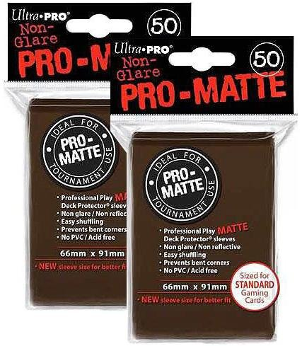 100 Ultra Pro Brown PRO-MATTE Deck Protectors Sleeves Standard MTG Colors