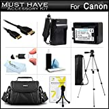 Must Have Accessory Kit For Canon VIXIA HF R52, HF R50, HF R500, HF R42, HF R40, HF R400, HF R62, HF R60, HF R600 Digital Camcorder Includes Replacement (2000Mah) BP-718 Battery + Charger + Case +++