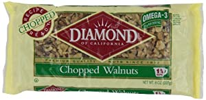 Diamond Nuts Walnuts, Chopped, 8-Ounce Bags (Pack of 12)