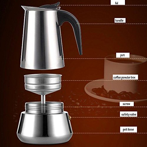 Metal Coffee Maker For Stove : Generic 200 ML, 4 Cup Stainless Steel Moka Stovetop Espresso Maker Latte Percolator Stove Top ...