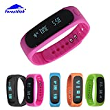 Forestfish(TM) Bluetooth Sync Smart Bracelet Sports Fitness Tracker Smart Wristband Water Resistant Tracker Bracelet Sleep Monitoring Anti-lost Smart Watch (Pink2)