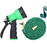 Brass Connectors Expandable Garden Hose By Gardeniar - 50ft Green Kink, Flexible - The Best Expanding Garden Hose for all your Watering Needs, Comes with a Free 8 Setting Spray Nozzle & Hose Hanger