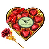 Wrapped Chocolate Collection With 24k Red Gold Rose - Chocholik Luxury Chocolates