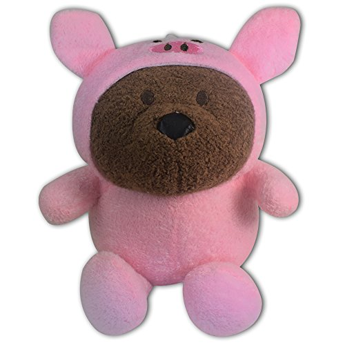 "8"" Brown Teddy Bear in Pig Costume Soft Plush Toy Stuffed Animal With Suction Cup New Cute"