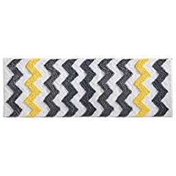 InterDesign Microfiber Chevron Bathroom Tub and Shower Accent Rug, 60 x 21, Gray/Yellow