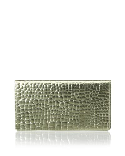 Graphic Image Women's Checkbook Cover, Gold Metallic Croc