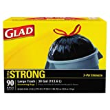 Glad Drawstring Outdoor Trash Bags, 30 x 33, 30gal, 1.1mil, Black, 90/Carton