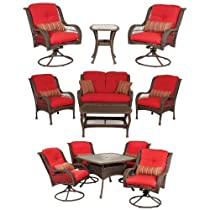 Hot Sale Bella Vista Patio Furniture Combo: 5 Piece Dining, 4 Piece Seating, and 3 Piece Bistro Set (Brick Red, Wicker) by La-Z-Boy Outdoor
