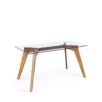 Table à manger rectangulaire verre et bois Ingmar - Couleur - Chêne