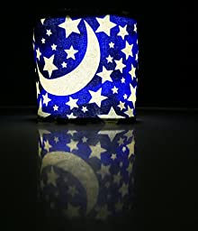 Terra Friendly Cordless Solar Night Light Lantern for Kids or Adults, with Baby Soft Cover Handcrafted in USA. Great for Bedtime, Reading, Night Walks, Baby Checks, Sleep Overs. (Moons and Stars)