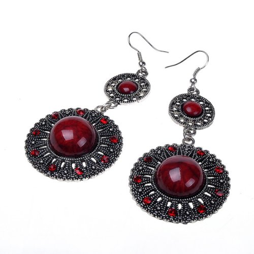Beautiful Red Vintage Look Design Archaize Earring Long Dangle Drop Earrings
