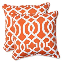 Pillow Perfect Outdoor Geo Throw Pillow, 18.5-Inch, Orange, Set of 2 from Pillow Perfect