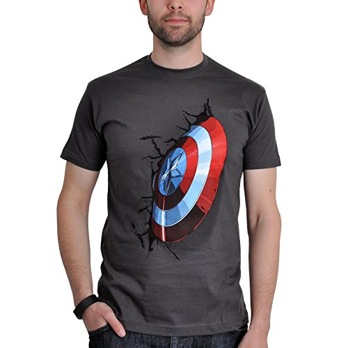 Avengers - T-shirt dell'eroe Capitan America - Motivo Shield - Licenza ufficiale - Regalo per veri fan - Cotone - Grigio - S