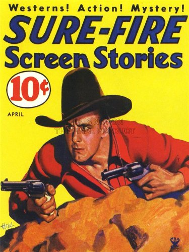 Magazine Cover Sure Fire Westerns Action Mystery Cowboy Art Poster Print 18X24 Inch Lv1963