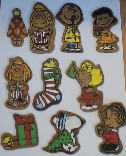 Peanuts Set of 19 Vintage Wooden Christmas Ornaments (Need Hooks) w/ Charlie Brown Snoopy Linus and More!