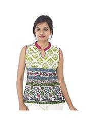 Parinita Women Green Cotton Printed Short Top - B00PW0N1Z4