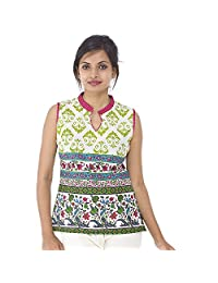 Parinita Women Green Cotton Printed Short Top