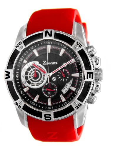 Zancan HWC014 Chronograph Stainless Steel Red Rubber Strap Men's Watch