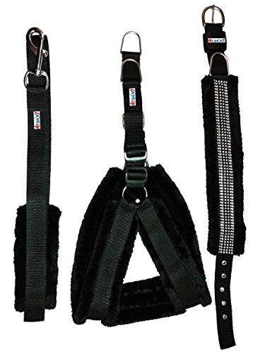 Petshop7-Nylon-Black-fur-075-Inch-Small-Dog-Harness-Collar-Leash