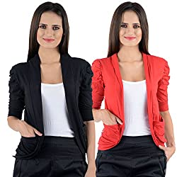 Black & Red Cotton Gathering Sleeve Regular Fit Shrugs (Combo Set of 2)