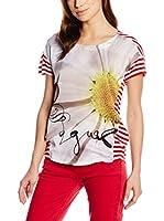 Desigual Camiseta Manga Corta (Rojo / Blanco)