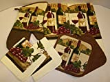 Bundle of Kitchen Linens by Home Collection Featuring: Kitchen Towels, Pot Holders, Oven Mitt, Dishcloths (7, Wine & Grapes)