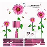 Decals Arts Sun Flower Pink Wall Sticker For Home Decoration