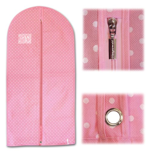 Hangerworld Synthetic 45-Inch Polka Dot Breathable Garment Coat Cover Bag For all Clothes/Dresses, Pink