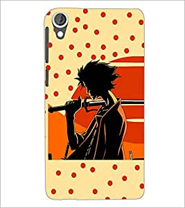 PrintDhaba Sword Girl D-5087 Back Case Cover for HTC DESIRE 820 (Multi-Coloured)