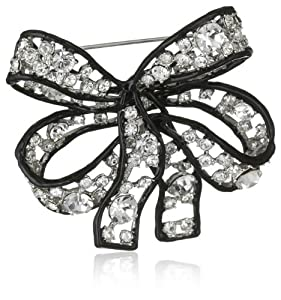 Kenneth Jay Lane Crystal, Black Line Bow Pin