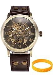 AMPM24 Mens PMW198 Steampunk Bronze Skeleton Auto Mechanical Leather Wrist Watch - Wristband