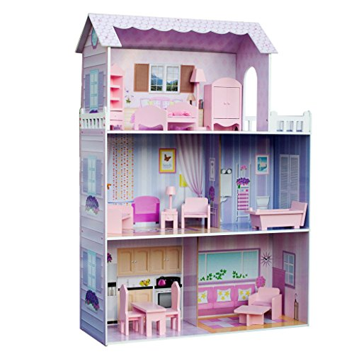 [Teamson Kids Fancy Mansion Doll House (with 13pcs furniture)] (Guys And Dolls Costumes Era)